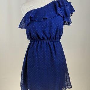 Women's Spring Asymmetrical Dress  Blue Size Small